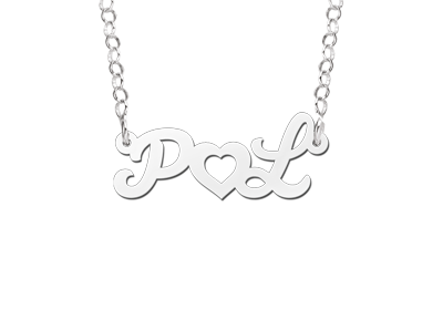 Silberne Namenskette Buchstaben mit Herz