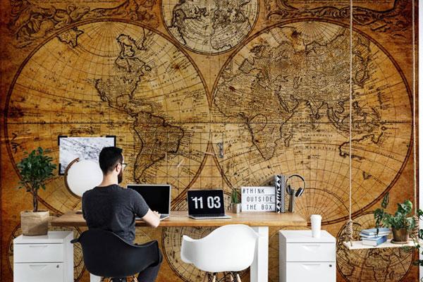 Weltkarte Schreibtisch